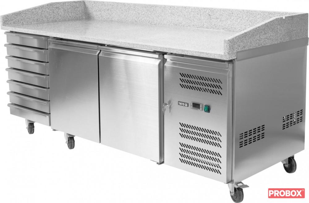 Rewelacyjny Stół chłodniczy do pizzy 580 L 2-drzwiowy 7 szuflad granitowy blat PH99