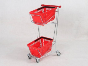 Wózek sklepowy dwupoziomowy na koszyki