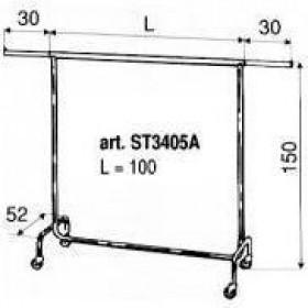 Stojak ubraniowy MOCNY; Transporter ST3405A stojak na ubrania dł. 100cm