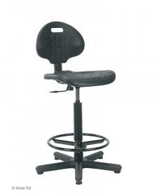 Taboret obrotowy z oparciem - krzesło laboratoryjne Nargo + ring base