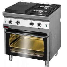 Gastronomiczna Kuchnia gazowa z płytą grzewczą - piekarnik gazowy 700.KG-2/I-400/PG-2 Kromet