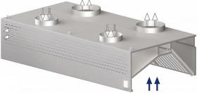Okap gastronomiczny przyścienny kompensacyjny z łap. B i ośw. 1300x1100x450 mm