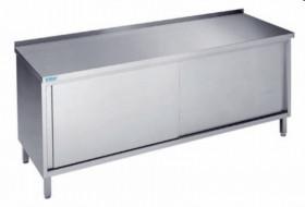 Stół nierdzewny zabudowany z drzwiami suwnymi - głębokość 600 mm Rilling-Krosno Metal