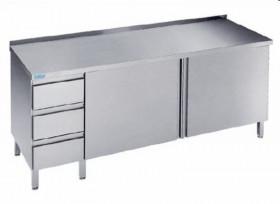 Stół nierdzewny z drzwiami i blokiem 3 szuflad - głębokość 600 mm Rilling-Krosno Metal