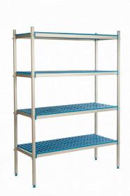 Regał aluminiowo-polipropylenowy, 4 półkowy, 970x400x1750 mm | ALUSHELF