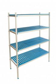 Gastronomiczny regał aluminiowo-polipropylenowy, 4 półkowy, 870x400x1750 mm | ALUSHELF