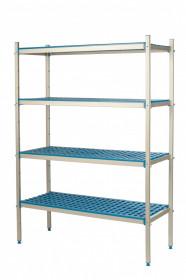 Regał aluminiowo-polipropylenowy, 4 półkowy, 770x400x1750 mm | ALUSHELF