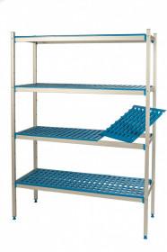 Regał aluminiowo-polipropylenowy, 4 półkowy, 770x500x1750 mm | ALUSHELF