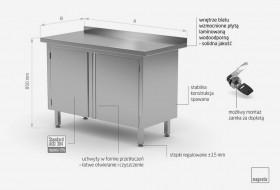 Stół przyścienny szafka z drzwiami na zawiasach 1200 mm x 600 mm