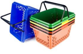 Koszyk sklepowy plastikowy zakupowy 28L, dwie rączki - HURT