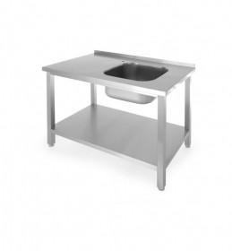 Stół ze zlewem i półką, skręcany, zlew po prawej str. 1000x600x(H)850 mm
