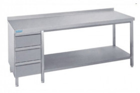 Stół nierdzewny z półką i blokiem 3 szuflad - głębokość 700 mm Rilling-Krosno Metal