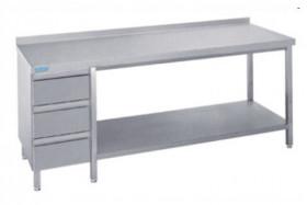 Stół do pracy z półką i blokiem 3 szuflad - głębokość 600 mm Rilling-Krosno Metal