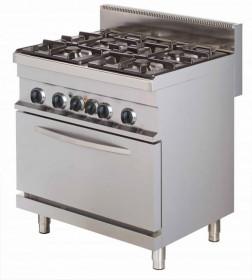 Gastronomiczna kuchnia gazowa z piekarnikiem elektrycznym, 4-palnikowa, 24kW