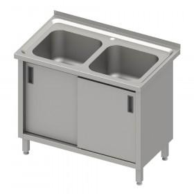 stół ze zlewem 2-kom.,drzwi suwane 1000x600x850 mm