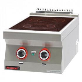 Kuchnia elektryczna ceramiczna 2 pola 1x2,1kW + 1x2,0kW, Kromet, 700.KE-2C