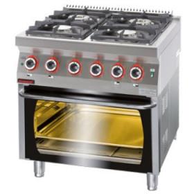 Profesjonalna kuchnia gazowa z piekarnikiem elektrycznym, Kromet, 700.KG-4/PE-2