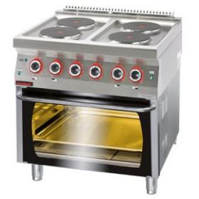 Kuchnia elektryczna z piekarnikiem elektrycznym 4x2,6kW + 6,5kW (piekarnik), Kromet, 700.KE-4/PE-2