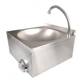 Umywalka bezdotykowa z włącznikiem kolanowym i z kranem 400x400x225 mm - Stalgast 610004