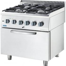 Gastronomiczna kuchnia gazowa ECO z piekarnikiem, 4-palnikowa - Stalgast, 9713610
