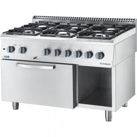 Gastronomiczna kuchnia gazowa ECO z piekarnikiem elektrycznym, 6-palnikowa, P 25.5+3.5 kW, U G20 - Stalgast, 9714310
