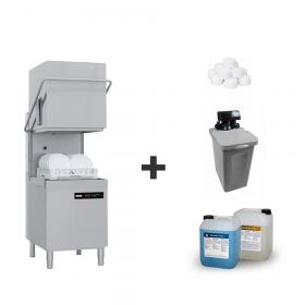 Zmywarka gastronomiczna do szkła i naczyń + chemia + zmiękczacz półautomatyczny + sól, Redfox QQI 102 | ZESTAW