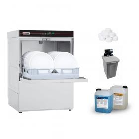 Profesjonalna zmywarka do szkła i naczyń + chemia + zmiękczacz automatyczny + sól, Redfox QQI 52T | ZESTAW