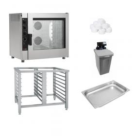 Piec konwekcyjno-parowy + podstawa + zmiękczacz + 7 pojemników GN 1/1 65mm + sól | ZESTAW