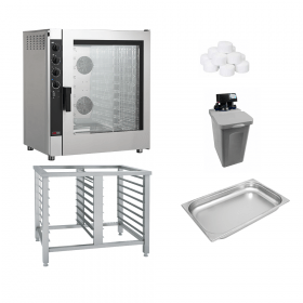 Piec konwekcyjno-parowy + podstawa + zmiękczacz + 10 pojemników GN 1/1 65mm + sól | ZESTAW