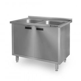 Zlew 2-komorowy gastronomiczny, drzwi skrzydłowe 1000x600x850 mm Hit