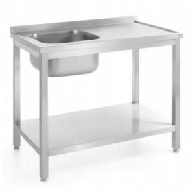Stół z jednym zlewem z półką, lewy - skręcany, o wym.1000x600x(H)850 mm