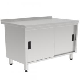 Stół nierdzewny do pracy z szafką i drzwiami suwanymi 1000x600x850mm
