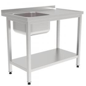 Gastronomiczny stół ze zlewem i półką 600x600x850mm