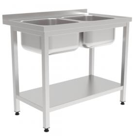 Stół nierdzewny z dwoma zlewami i półką 1000x700x850mm
