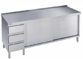 Stół nierdzewny z drzwiami suwnymi- 1400x600x850(900) mm Rilling-Krosno Metal, ASS0614CS3LO