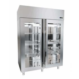 Szafa chłodnicza nierdzewna z drzwiami przeszklonymi o wym. 1440x821x2050 mm