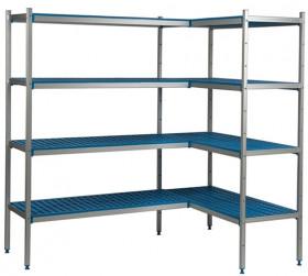 Regał narożny aluminiowo-polipropylenowy, 4 półkowy 940x600x1750mm