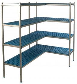 Regał narożny aluminiowo-polipropylenowy, 4 półkowy 640x400x1750mm