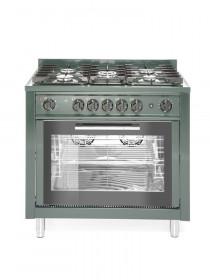 Gastronomiczna kuchnia gazowa 5-palnikowa z konwekcyjnym piekarnikiem elektrycznym i z grillem, zielona