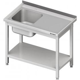 Stół ze zlewem z prawej strony i z dolną półką 1200x600x850 mm spawany