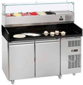 Stół chłodniczy do pizzy 2-drzwiowy 600x400 mm z nadstawką chłodniczą 7 x GN 1/4