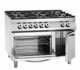 Gastronomiczna 6 palnikowa kuchnia gazowa z pieknikiem elektrycznym 2/1GN,NS