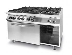 Gastronomiczna Kuchnia gazowa 6-palnikowa Kitchen Line z konwekcyjnym piekarnikiem elektrycznym GN 1/1