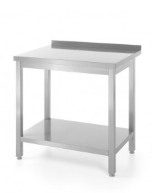 Stół nierdzewny przyścienny z półką 800-600-850 mm - skręcany