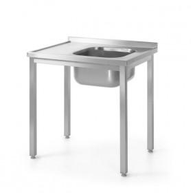 Stół nierdzewny z jednym zlewem – prawy - skręcany 1000 x 600