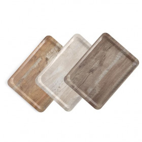 Taca do serwowania z nadrukiem drewna ciemny dąb 370x530