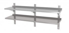 Półka wisząca przestawna, podwójna z trzema konsolami, o wym. 1800x400x600 mm