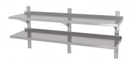 Półka wisząca przestawna, podwójna z trzema konsolami, o wym. 2000x400x600 mm