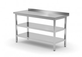 Stół przyścienny z dwiema półkami - spawany, o wym. 600x600x850 mm
