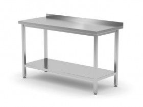 Stół przyścienny z półką - spawany, o wym. 800x700x850 mm